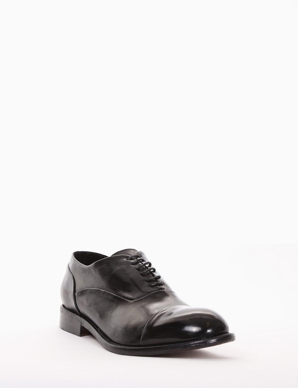 Lace-up shoes heel 2 cm black leather