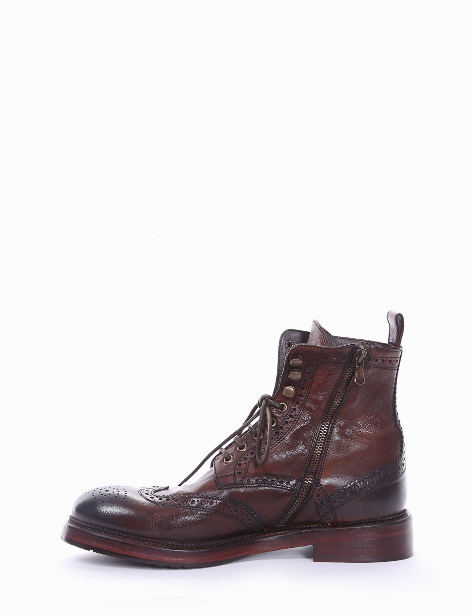 Ankle boots heel 2 cm dark brown leather