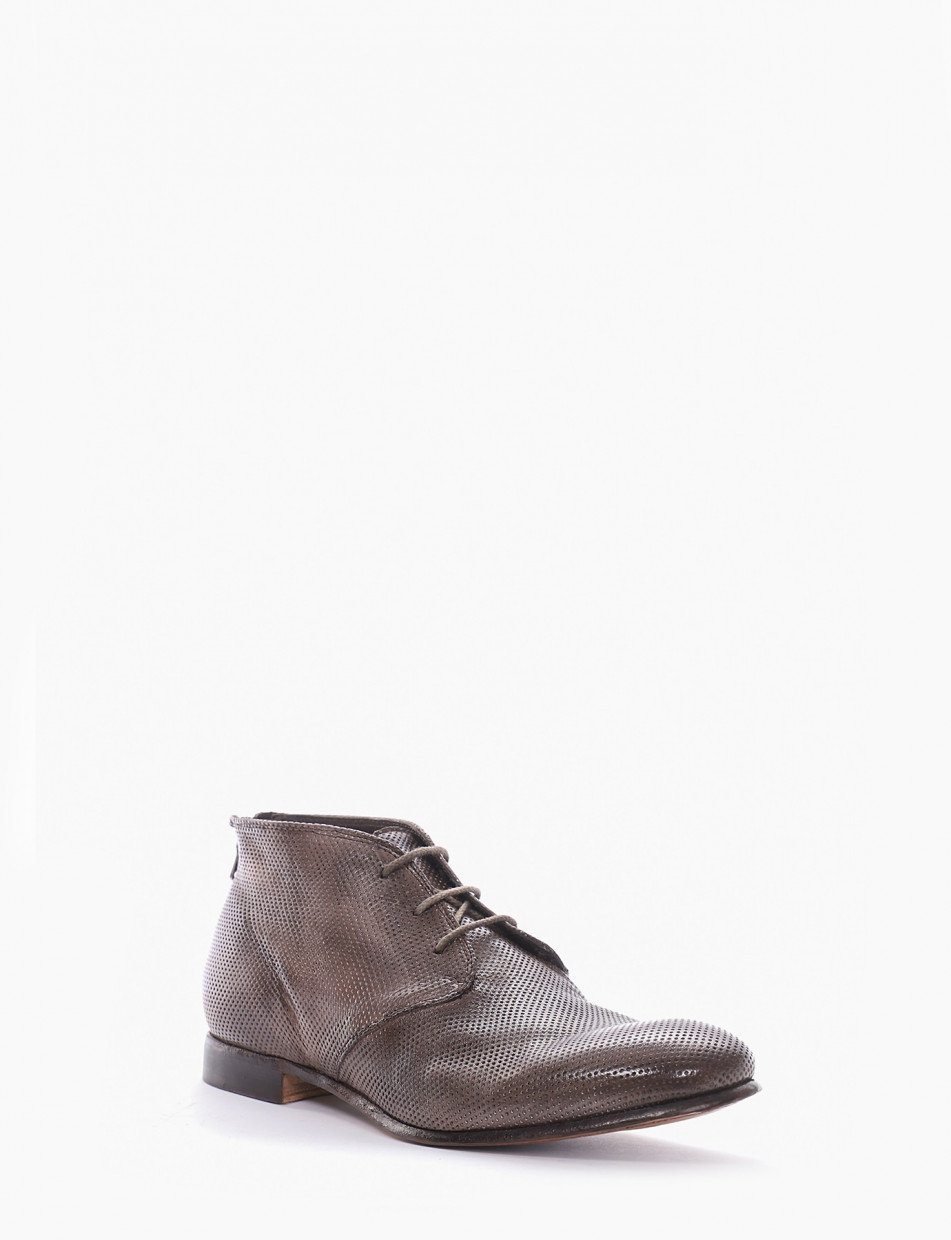 Ankle boots heel 2 cm beige leather