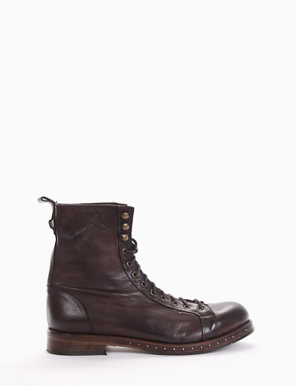 Combat boots heel 2 cm dark brown leather