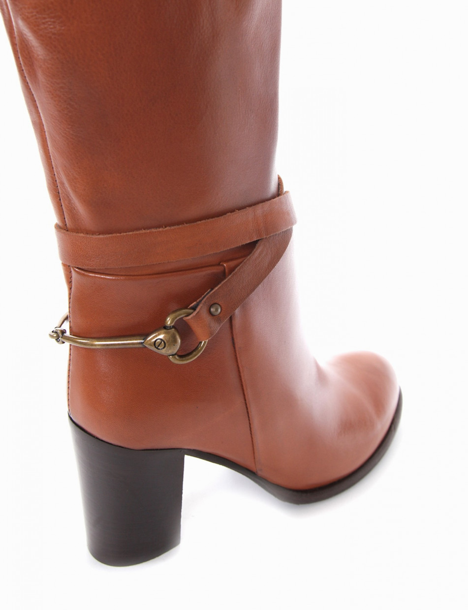 High heel boots heel 7 cm leather