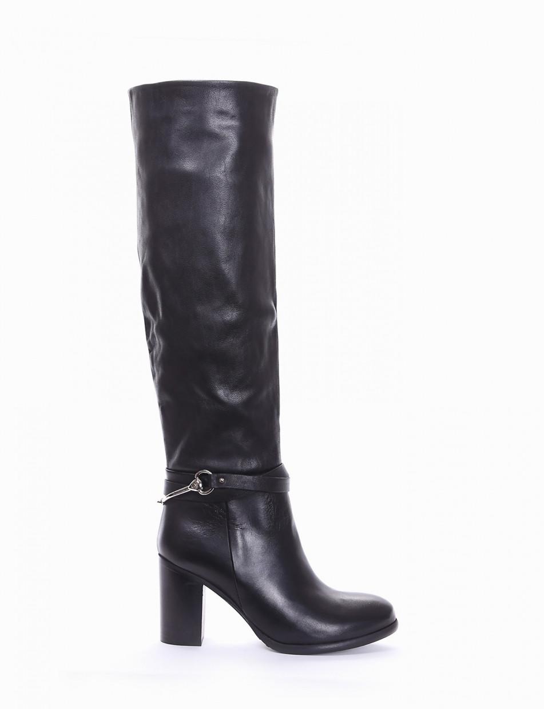 High heel boots heel 7 cm black leather