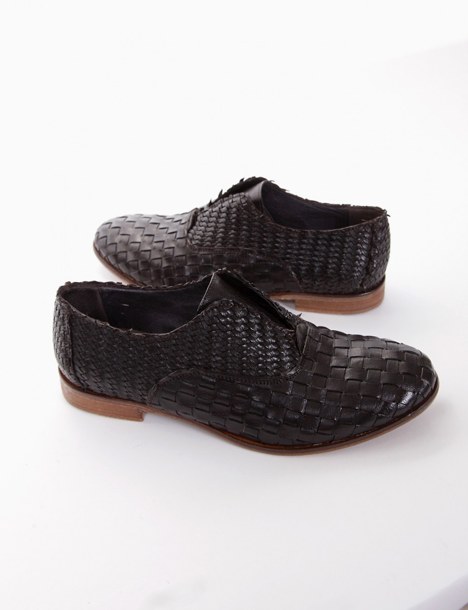 Lace-up shoes heel 2 cm dark brown leather