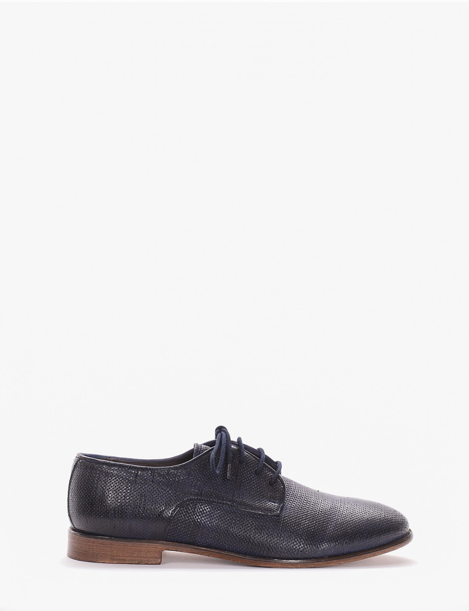 Lace-up shoes heel 2 cm blu leather