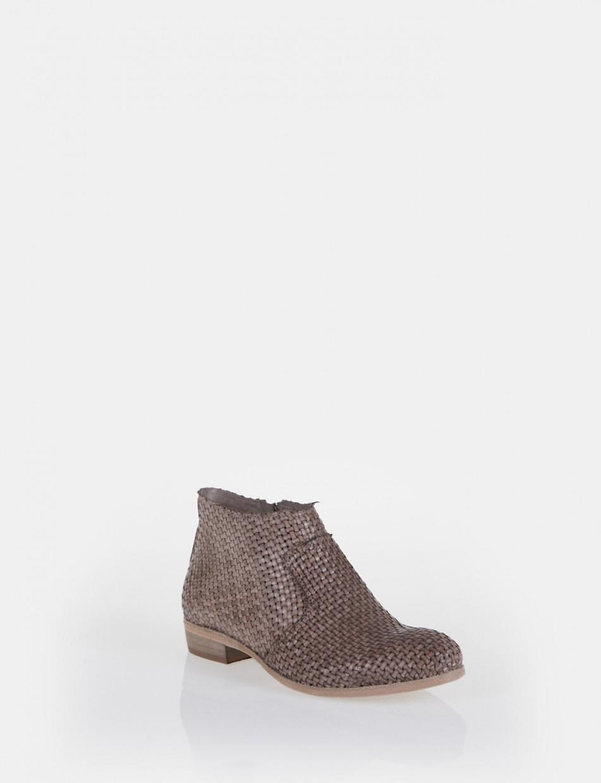 Low heel ankle boots heel 2 cm beige leather