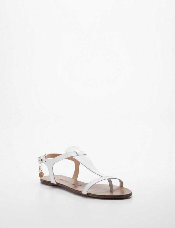 Flip flops white leather
