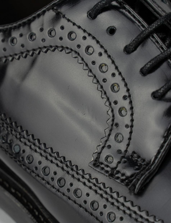 Stringata con fondo cuoio e soletto in vera pelle nero