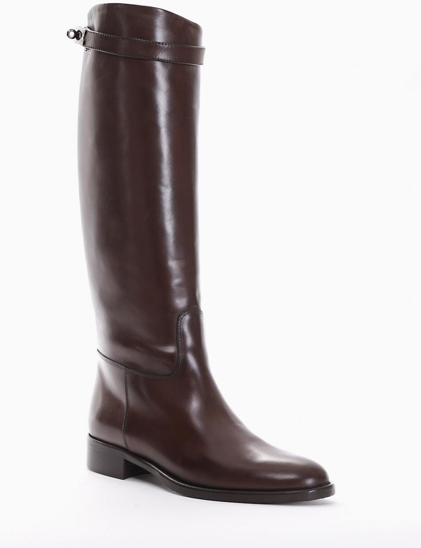 Low heel boots heel 2 cm dark brown leather