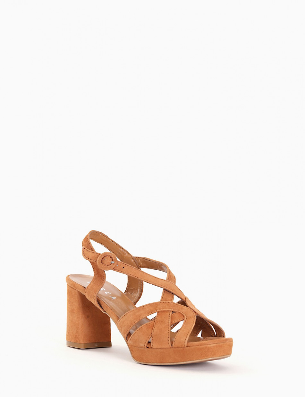Sandalo tacco 70 cuoio