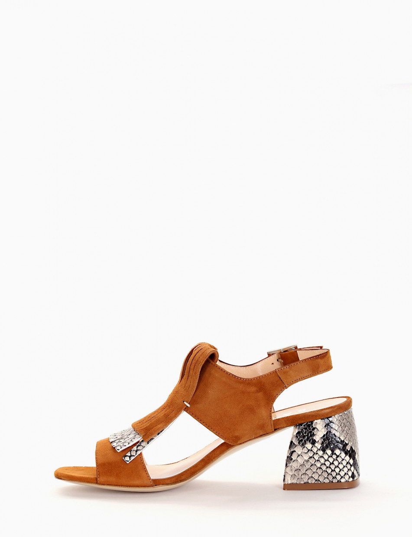 Low heel sandals heel 5 cm leather chamois