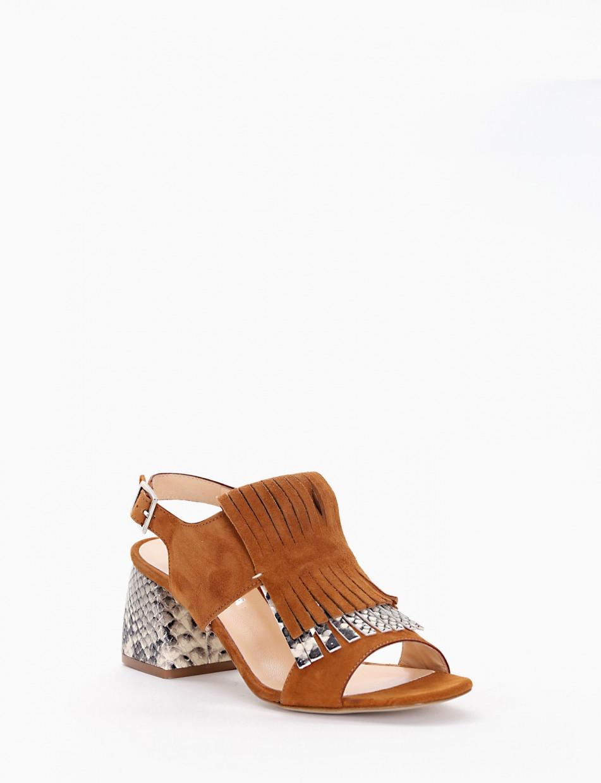 Sandalo tacco 50 stabile cuoio