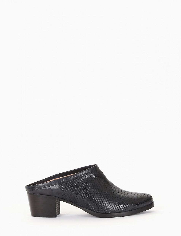 Sabot heel 5 cm black leather
