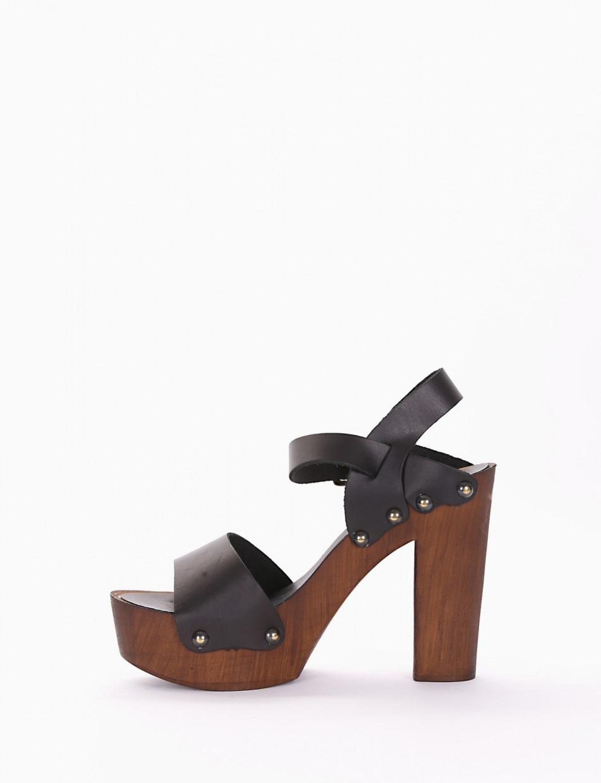 High heel sandals heel 13 cm black leather