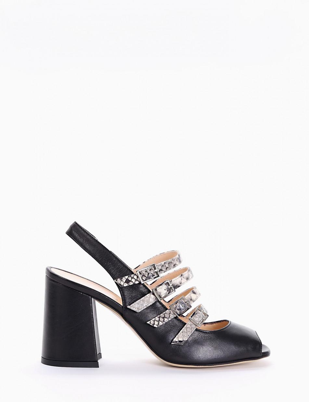 High heel sandals heel 7 cm black leather
