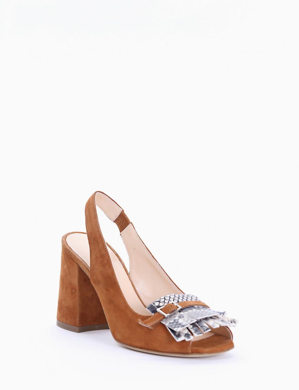 High heel sandals heel 5 cm brown chamois