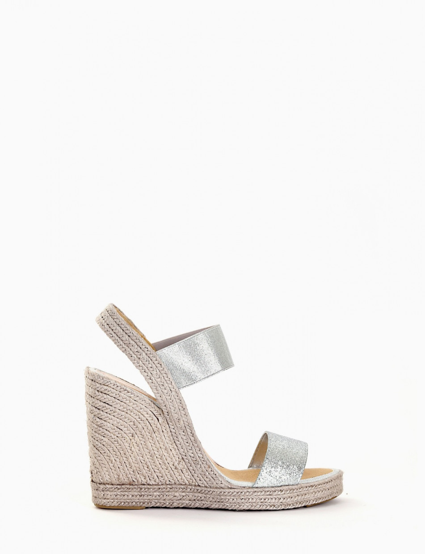 Wedge heels heel 11 cm silver glitter