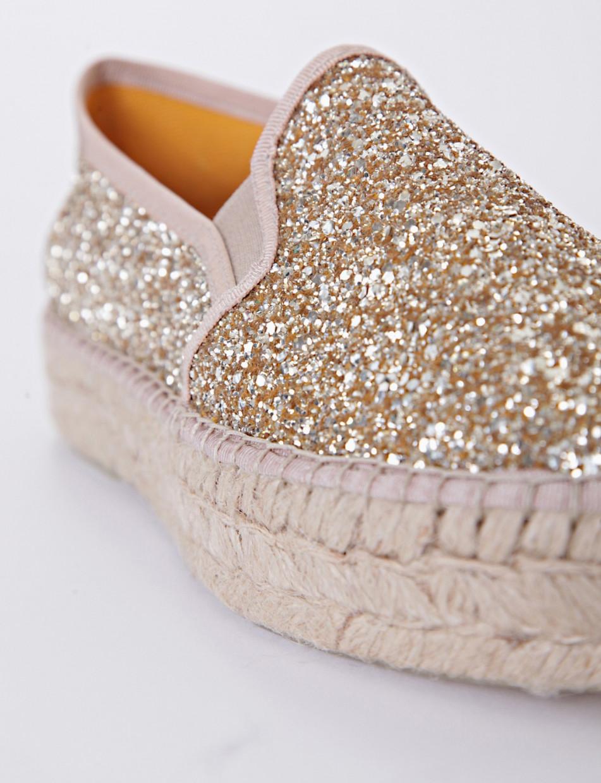 Espadrillas champagne glitter