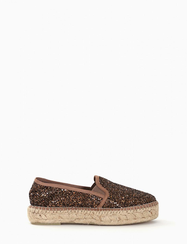 Espadrillas brown glitter