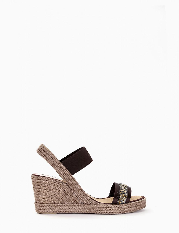 Wedge heels dark brown canvas