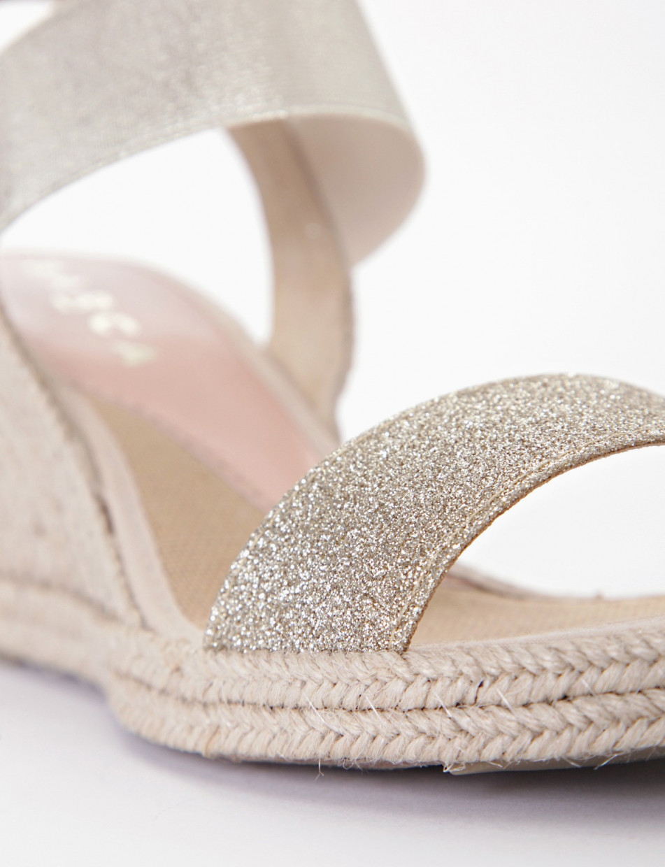 Sandalo in corda con zeppa 70 platino