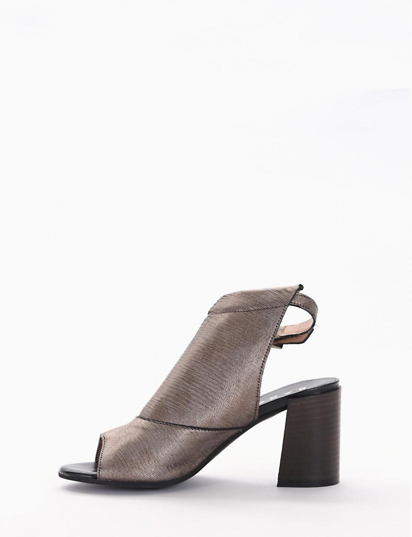 High heel sandals heel 7 cm gray leather