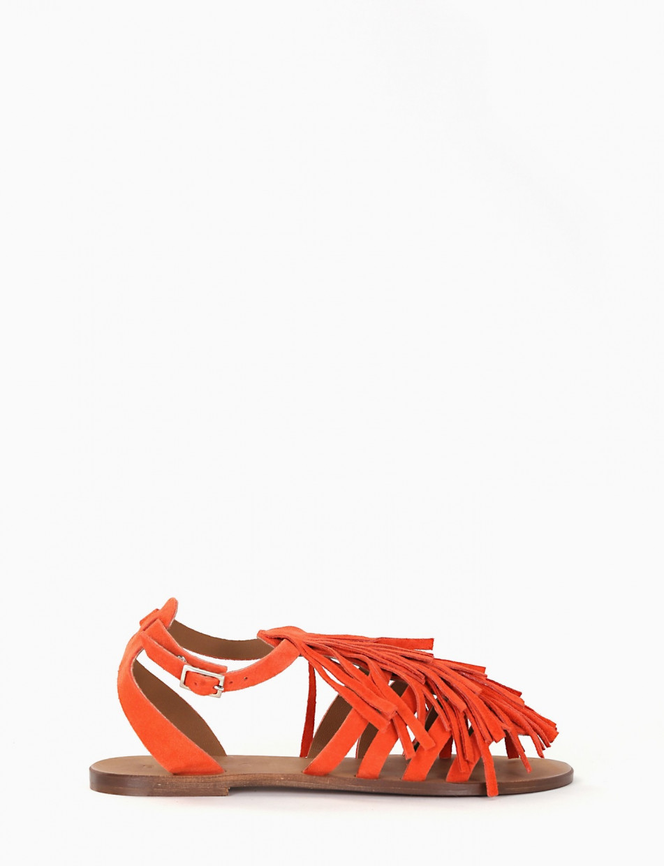 Low heel sandals coral chamois