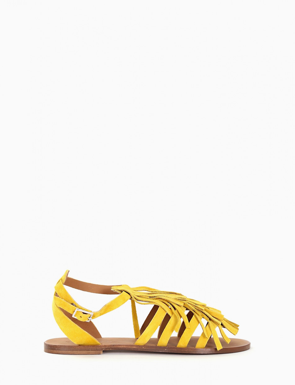 Low heel sandals yellow chamois