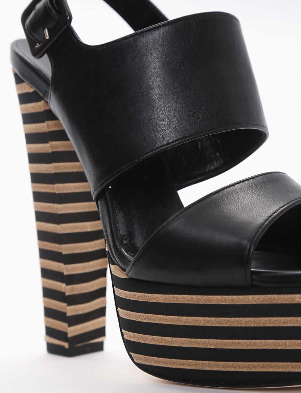 High heel sandals heel 14 cm black leather