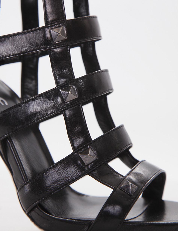 High heel sandals heel 9 cm black leather
