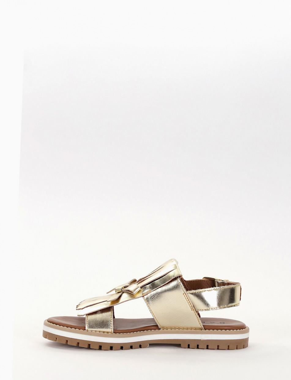 Low heel sandals heel 2 cm gold laminated