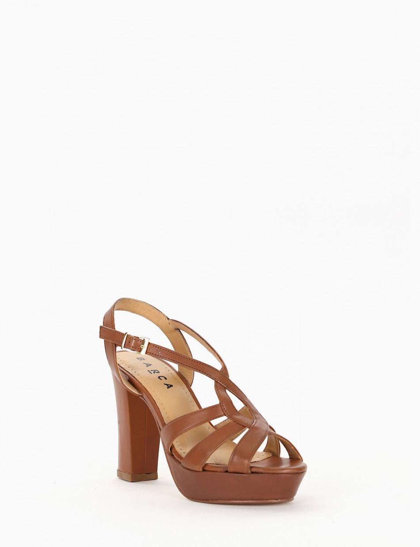 High heel sandals heel 9 cm leather