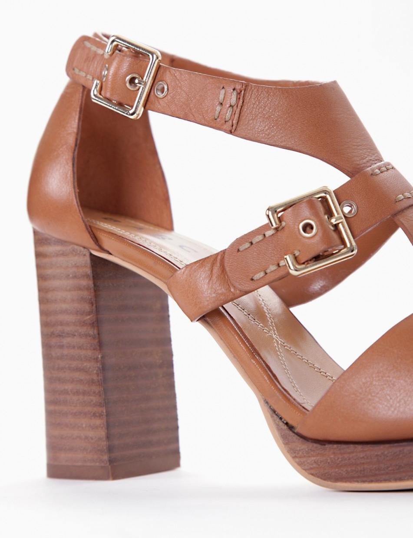 High heel sandals heel 9 cm brown leather