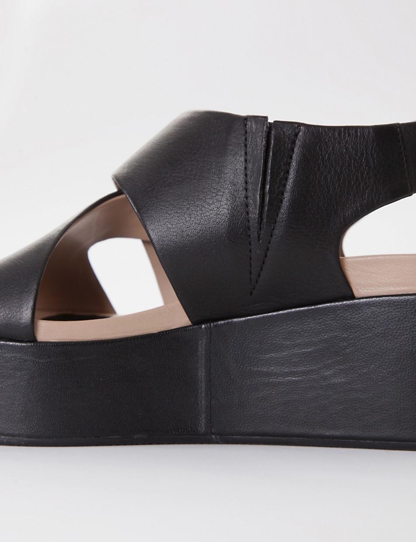 Wedge heels black leather