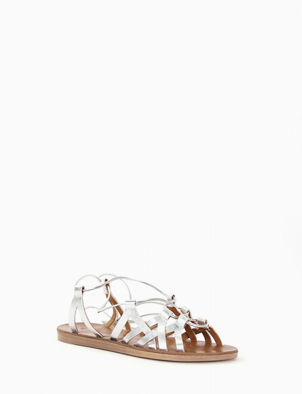 Low heel sandals heel 1 cm silver laminated