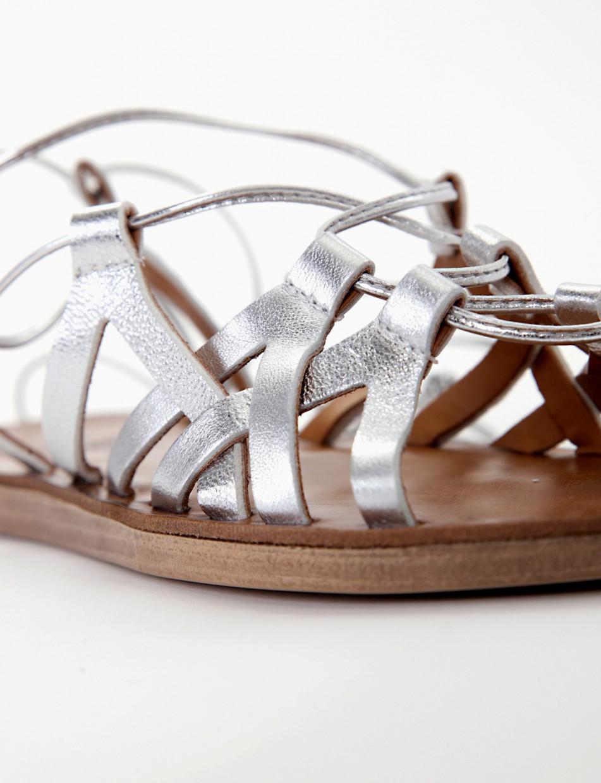 Sandalo piatto fondo gomma 1 cm  e soletto in vera pelle argento