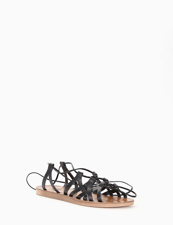 Sandalo piatto fondo gomma 1 cm  e soletto in vera pelle nero