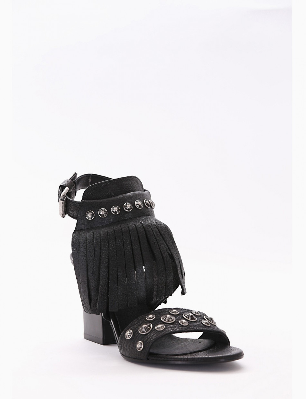 High heel sandals heel 7 cm brown