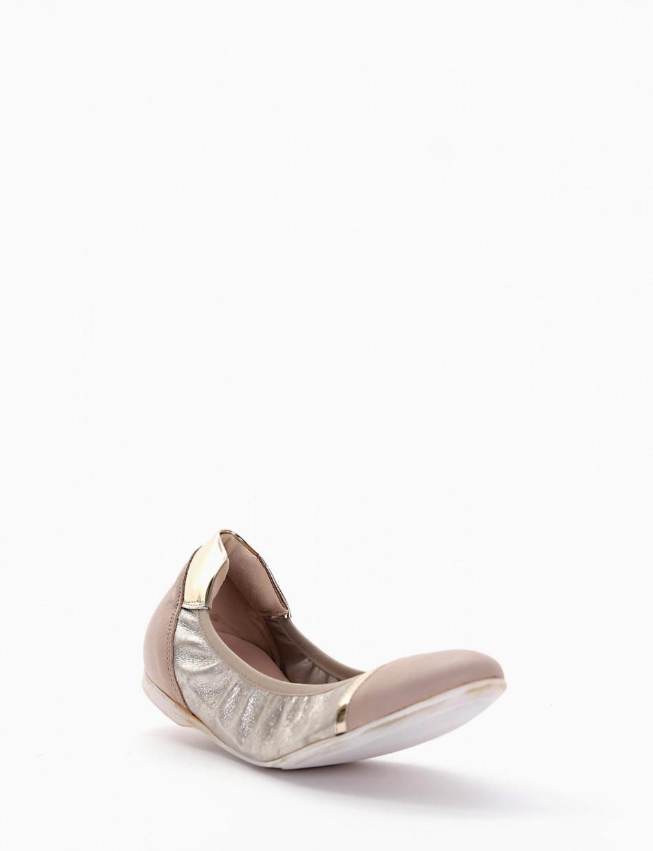 Ballerina elastica con fondo cuoio e soletto in vera pelle beige