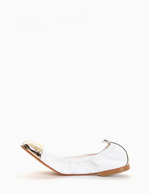 Ballerina elastica con fondo cuoio e soletto in vera pelle bianco