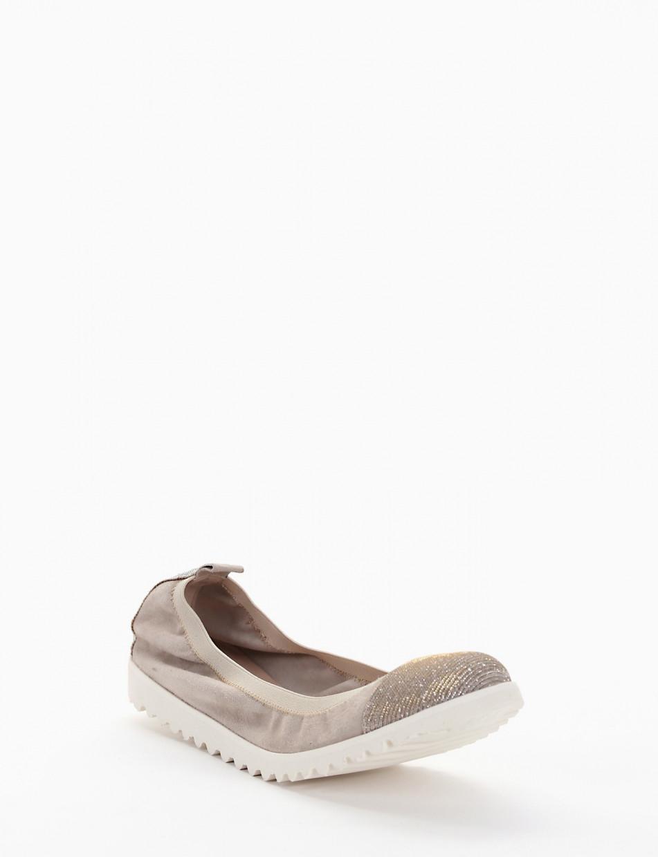 Ballerina elastica con fondo gomma e soletto in vera pelle beige