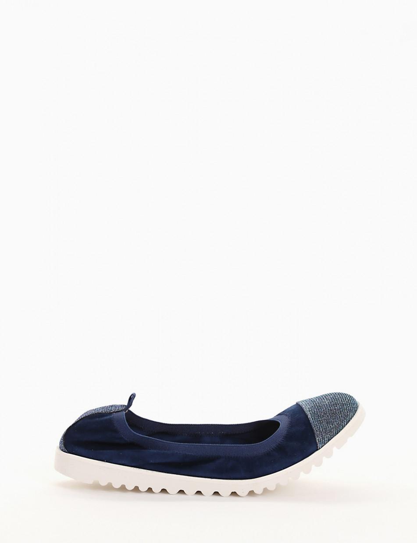 Ballerina elastica con fondo gomma e soletto in vera pelle blu