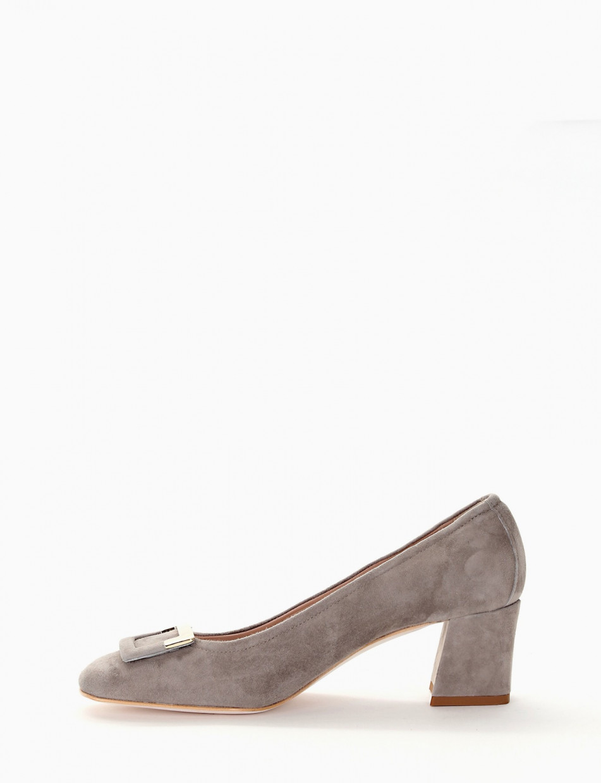 Flat shoes grey chamois