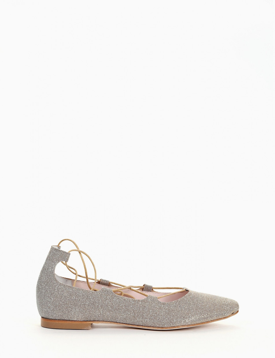 Flat shoes beige tissue