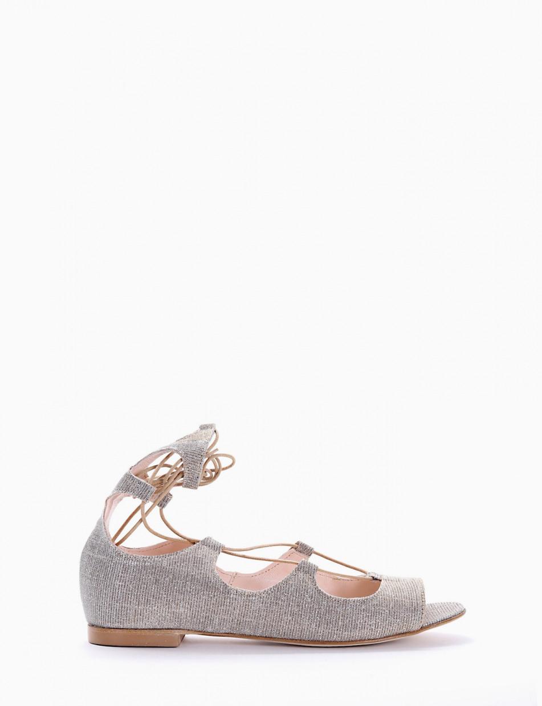 Ballerina spuntata / sandalo con fondo cuoio e soletto in vera pelle beige