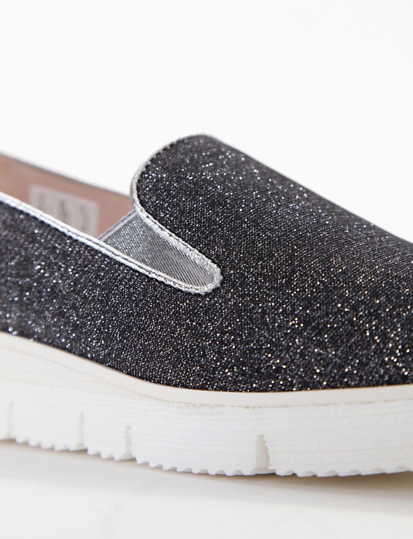 Flat shoes black canvas