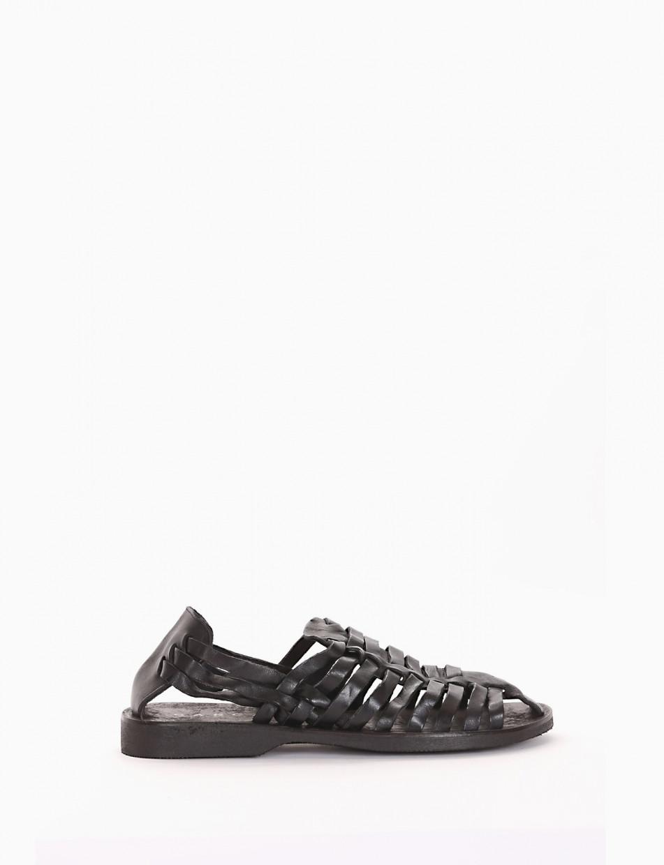 Sandali zeppa black leather