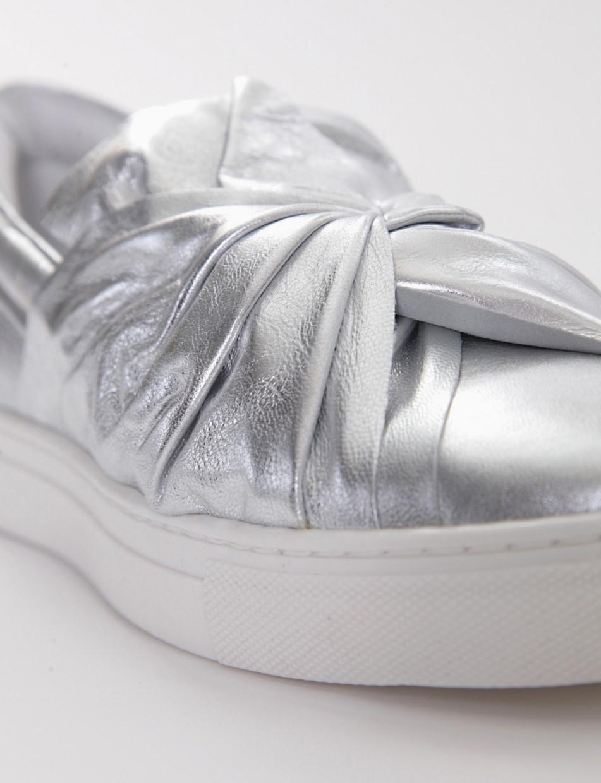 Silp-on con fondo gomma e soletto in vera pelle argento