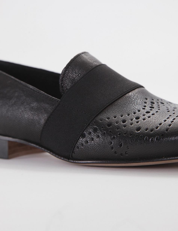 Stringata no lace / slip-on con fondo cuoio e soletto in vera pelle nero