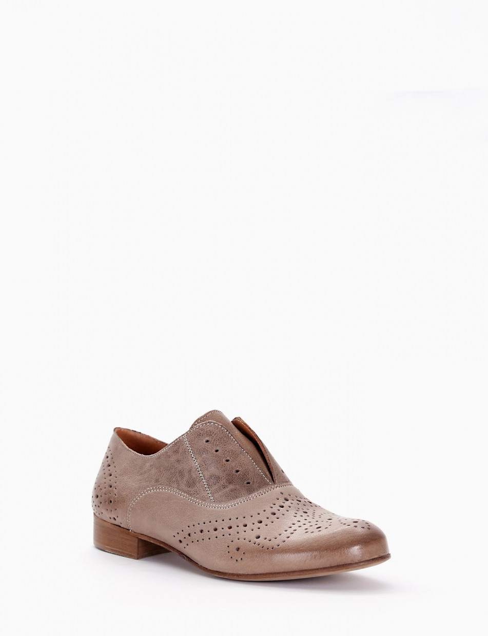 Lace-up shoes tortora leather