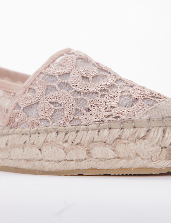 Espadrillas beige lace
